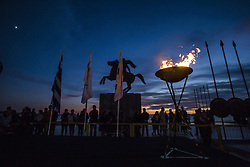 October 27, 2017 - Thessaloniki, Greece - The 2018 Winter Olympics torch relay arrived in Thessaloniki, Greece. The flame was born in ancient Olympia will travel to North Korea, in Pyongyang to end in the Olympic Stadium for the XXII Winter Olympics 2018. The flame stayed overnight in Thessaloniki, in front of the statue of Alexander the Great in the seafront, were a celebration was held with local politicians, athletes and traditional folklore dances. (Credit Image: © Nicolas Economou/NurPhoto via ZUMA Press)