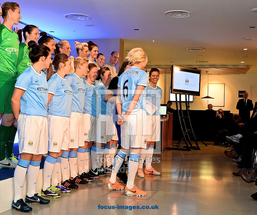Picture by Ian Wadkins/Focus Images Ltd +44 7877 568959<br /> 24/01/2014<br /> Players from Manchester City Women's Football Club  pictured during the re launch of Manchester City Women&rsquo;s Football Club at the Etihad Stadium, Manchester.