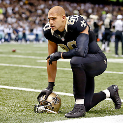 Nov 10, 2013; New Orleans, LA, USA; New Orleans Saints tight end Jimmy Graham (80) against the Dallas Cowboys during the second half of a game at Mercedes-Benz Superdome. The Saints defeated the Cowboys 49-17. Mandatory Credit: Derick E. Hingle-USA TODAY Sports