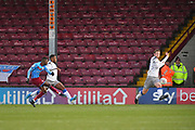 Scunthorpe United player Abo Eisa (30) scores goal to go 1-0  during the EFL Sky Bet League 2 match between Scunthorpe United and Colchester United at Glanford Park, Scunthorpe, England on 14 December 2019.