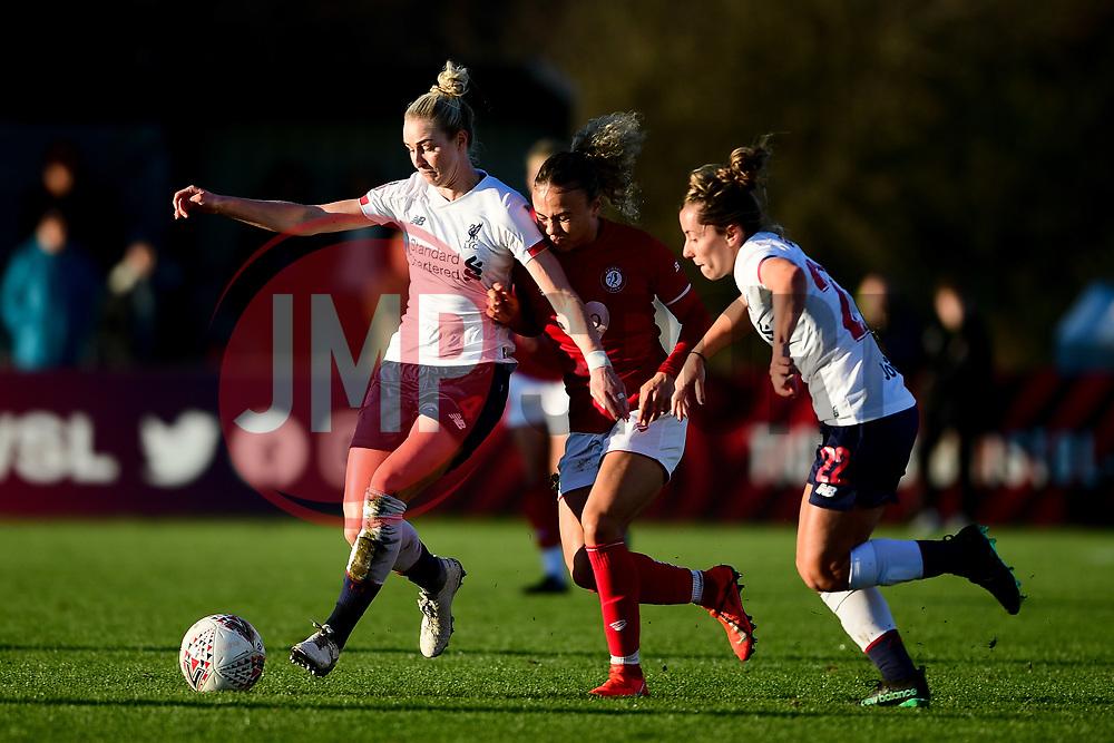 Ebony Salmon of Bristol City is challenged by Rhiannon Roberts of Liverpool Women - Mandatory by-line: Ryan Hiscott/JMP - 19/01/2020 - FOOTBALL - Stoke Gifford Stadium - Bristol, England - Bristol City Women v Liverpool Women - Barclays FA Women's Super League