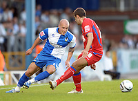 Football<br /> Bristol Rovers vs Aldershot Town, Carling Cup 1st Round, Memorial Stadium, Bristol, UK<br /> David Pipe of Bristol Rovers and Andy Sandell of Aldershot Town<br /> 11/08/2009<br /> Credit Colorsport/Dan Rowley