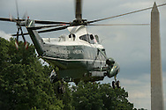 U.S. President Barack Obama aboard Marine One departs the south lawn of the White House July 15, 2015. President Obama is heading to Durant, Oklahoma to speak at Durant High School.