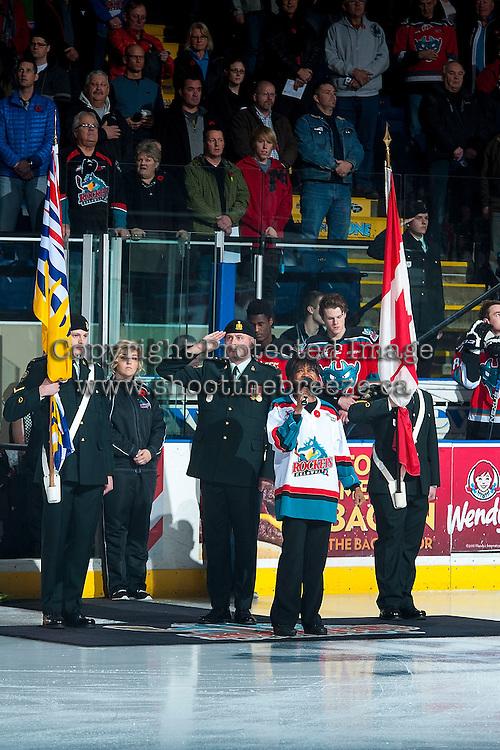 KELOWNA, CANADA - NOVEMBER 11: TeenaRee Gowdy sings the national anthem on November 11, 2015 at Prospera Place in Kelowna, British Columbia, Canada.  (Photo by Marissa Baecker/ShoottheBreeze)  *** Local Caption *** TeenaRee Gowdy;