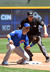 June 13, 2018 - Milwaukee, WI, U.S. - MILWAUKEE, WI - JUNE 13: Chicago Cubs Infield Tommy La Stella (2) catches a throw from Chicago Cubs Catcher Chris Gimenez (53) during a MLB game between the Milwaukee Brewers and Chicago Cubs on June 13, 2018 at Miller Park in Milwaukee, WI. The Brewers defeated the Cubs 1-0.(Photo by Nick Wosika/Icon Sportswire) (Credit Image: © Nick Wosika/Icon SMI via ZUMA Press)