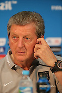 England manager Roy Hodgson rubs his ear during the England press conference at Arena da Amazonia, Manaus, Brazil.<br /> Picture by Andrew Tobin/Focus Images Ltd +44 7710 761829<br /> 13/06/2014