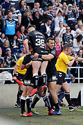 Hull FC centre Jack Logan (24) catches a high ball and then scores a try and then celebrates to make it 10-0  during the Betfred Super League match between Hull FC and Hull Kingston Rovers at Kingston Communications Stadium, Hull, United Kingdom on 19 April 2019.