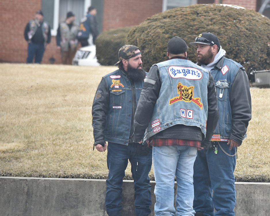 """More than 100 members of the Pagans Motorcycle Club gather Saturday, Feb. 10, 2018, at Schisler Funeral Home in Northampton to say goodbye to Ronald S. """"Rocky"""" Bedics Jr. He died Feb. 5 at St. Luke's in Fountain Hill at age 54."""