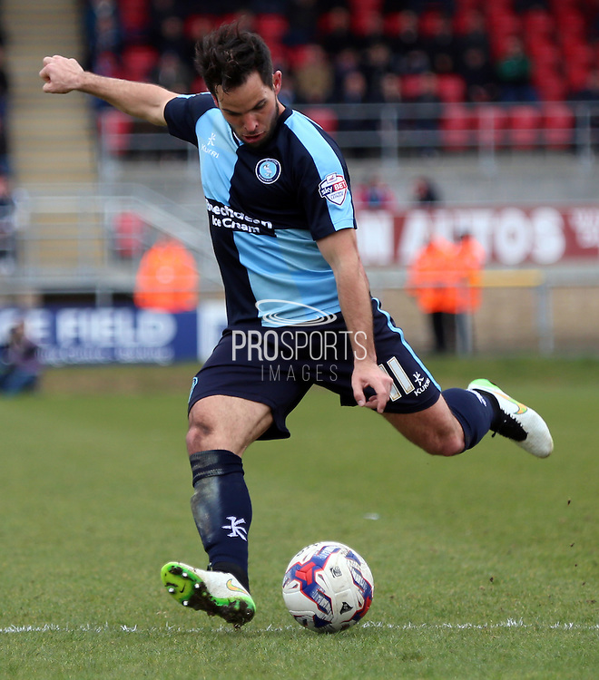 Sam Wood shaping to shoot during the Sky Bet League 2 match between Dagenham and Redbridge and Wycombe Wanderers at the London Borough of Barking and Dagenham Stadium, London, England on 28 March 2015. Photo by Matthew Redman.