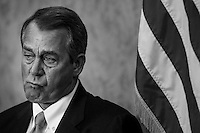 """WASHINGTON, DC - APRIL 16:  Speaker of the House John Boehner cries during the dedication of a US Capitol meeting room to former Congresswoman Gabrielle Giffords' staffer Gabriel """"Gabe"""" Zimmerman, who was shot and killed in the 2011 shooting in Tucson, on Capitol Hill Tuesday April 16, 2013. (Photo by Melina Mara/The Washington Post)"""