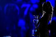 ILCE-9M2 • FE 400mm F2.8 GM OSS<br /> f/2.8 • ISO 12800 • 1/320<br /> <br /> Madrina e coppa trofeo<br /> A|X Armani Exchange Milano - Umana Reyer Venezia <br /> LBA Final Eight 2020 Zurich Connect - Semifinale<br /> Basket Serie A LBA 2019/2020<br /> Pesaro, Italia - 15 February 2020<br /> Foto Mattia Ozbot / CiamilloCastoria