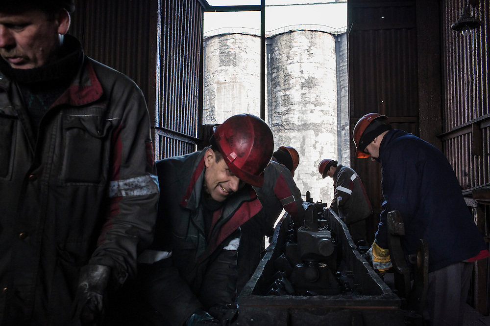 AVDIIVKA, UKRAINE - MARCH 18, 2015: Workers at the Avdiivka Coke and Steel plant in Avdiivka, Ukraine. CREDIT: Brendan Hoffman for The New York Times