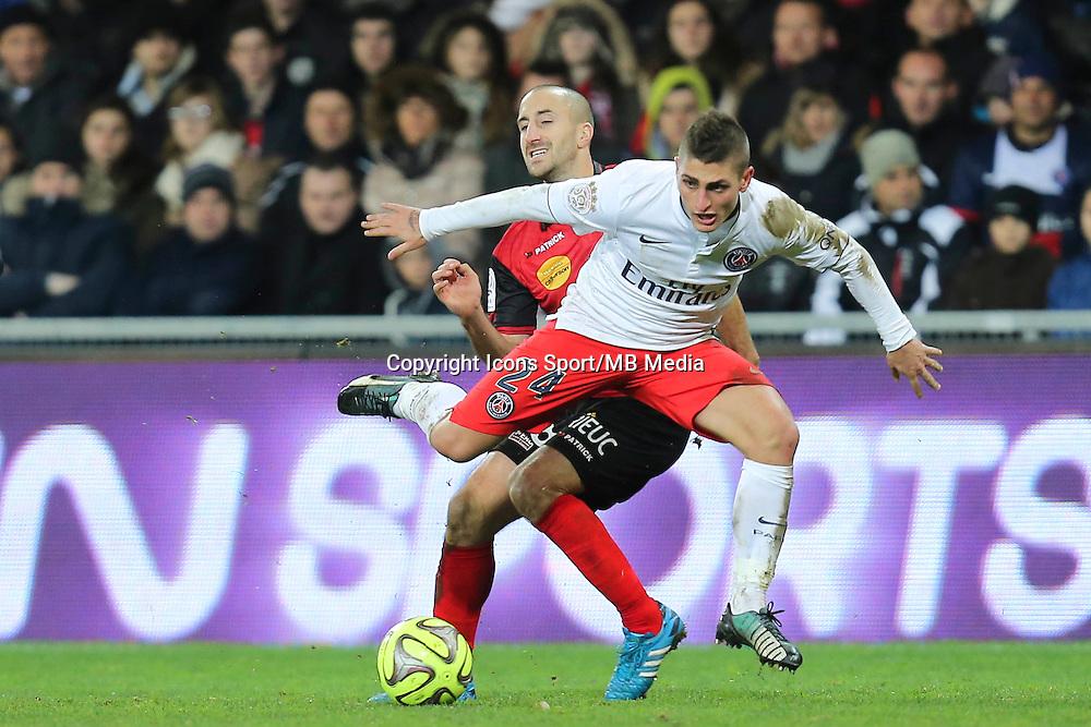 Marco VERRATTI / LIONEL MATHIS - 14.12.2014 - Guingamp / Paris Saint Germain - 18eme journee de Ligue 1<br />Photo : Vincent Michel / Icon Sport