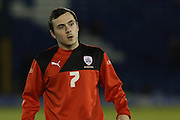 Josh Scowen of Barnsley warming up before the Sky Bet League 1 match between Bury and Barnsley at The JD Stadium, Bury, England on 23 February 2016. Photo by Simon Brady.