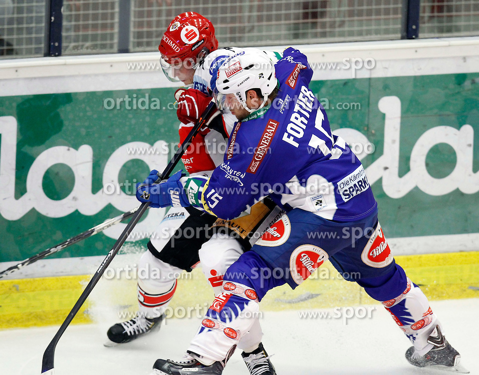 19.09. 2014, Stadthalle, Villach, AUT, EBEL, EC VSV vs HC TWK Innsbruck 3. Runde, im Bild v.l. Johan Bjoerk (Innsbruck) und Francois Fortier (VSV)// during the Erste Bank Icehockey League 3rd round match between EC VSV vs HC TWK Innsbruck at the City Hall in Villach, Austria, 2014/09/19, EXPA Pictures © 2014, PhotoCredit: EXPA/ Oskar Hoeher