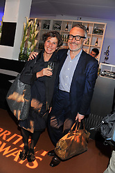STEPHEN & FLO BAYLEY at the launch of Flight BA2012 - an evening of Art, Food and Film to see Olympic Games inspires work by rising British Talent held at BA's pop up venue at 3-10 Shoreditch High Street, London E1 on 3rd April 2012.