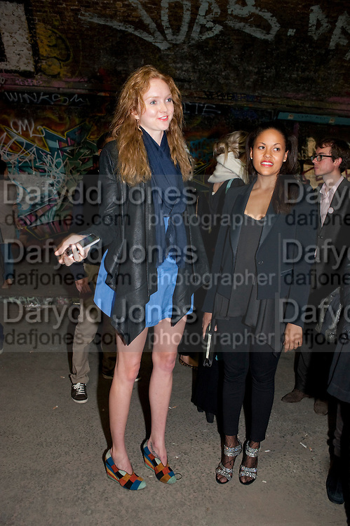 LILY COLE; RACHAEL BARRETT, STEVE LAZARIDES LAUNCHES &Ocirc;MINOTAUR&Otilde; &ETH; A LABYRINTHINE EXHIBITION TAKING OVER THE OLD VIC TUNNELS OVER FRIEZE WEEK FROM 11-25 OCTOBER. Waterloo. London. 10 October 2011. <br /> <br />  , -DO NOT ARCHIVE-&copy; Copyright Photograph by Dafydd Jones. 248 Clapham Rd. London SW9 0PZ. Tel 0207 820 0771. www.dafjones.com.<br /> LILY COLE; RACHAEL BARRETT, STEVE LAZARIDES LAUNCHES &lsquo;MINOTAUR&rsquo; &ndash; A LABYRINTHINE EXHIBITION TAKING OVER THE OLD VIC TUNNELS OVER FRIEZE WEEK FROM 11-25 OCTOBER. Waterloo. London. 10 October 2011. <br /> <br />  , -DO NOT ARCHIVE-&copy; Copyright Photograph by Dafydd Jones. 248 Clapham Rd. London SW9 0PZ. Tel 0207 820 0771. www.dafjones.com.