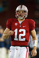Nov 19, 2011; Stanford CA, USA;  Stanford Cardinal quarterback Andrew Luck (12) warms up before the game against the California Golden Bears at Stanford Stadium.  Stanford defeated California 31-28. Mandatory Credit: Jason O. Watson-US PRESSWIRE