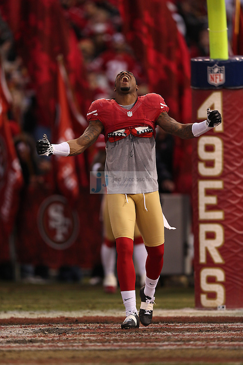San Francisco 49ers free safety Dashon Goldson (38) is introduced during a NFL Divisional playoff game against the Green Bay Packers at Candlestick Park in San Francisco, Calif., on Jan. 12, 2013. The 49ers defeated the Packers 45-31. (AP Photo/Jed Jacobsohn)