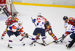 JAN URBAS of Slovenia and ZIGA JEGLIC of Slovenia vs Michael Schiechl of Austria during Friendly Ice-hockey match between National teams of Slovenia and Austria on April 19, 2013 in Ice Arena Tabor, Maribor, Slovenia. (Photo By Vid Ponikvar / Sportida)