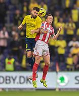 Anthony Jung (Brøndby IF) og Frederik Børsting (AaB) under kampen i 3F Superligaen mellem Brøndby IF og AaB den 18. august 2019 på Brøndby Stadion (Foto: Claus Birch).