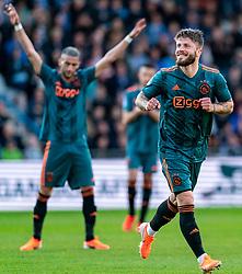 15-05-2019 NED: De Graafschap - Ajax, Doetinchem<br /> Round 34 / It wasn't really exciting anymore, but after the match against De Graafschap (1-4) it is official: Ajax is champion of the Netherlands / Lasse Schone #20 of Ajax score 1-0, Hakim Ziyech #22 of Ajax
