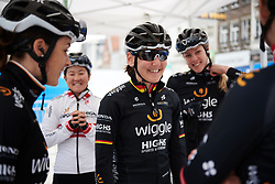 Lisa Brennauer (GER) chats with her Wiggle High5 teammates before Ronde van Vlaanderen - Elite Women 2018 a 151.9 km road race starting and finishing in Oudenaarde, Belgium on April 1, 2018. Photo by Sean Robinson/Velofocus.com