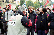 Firenze 9 November 2002.The demonstration, organized by the European Social Forum, anti-war and anti-globalization..Luca Casarini Spokesman of the disobedient and  Don Vitaliano Della Sala...