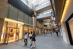 Interior of Roppongi Hills Mori Centre Shopping mall in Tokyo Japan