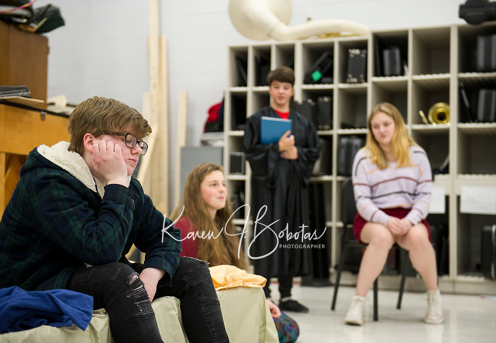 """""""William Shakespeare"""" M. Maas-Kisiel, """"Rosalind"""" M. Osmer, """"Portia"""" A. LaDue and """"Kate"""" A. Metevier rehearse """"While Shakespeare Slept"""" at Belmont High School Wednesday afternoon.  (Karen Bobotas/for the Laconia Daily Sun)"""