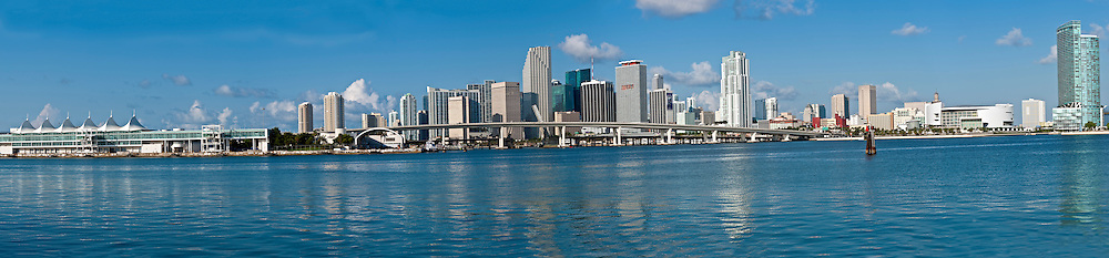 MIAMI - MAY 22: Panoramic view of Miami downtown skyline with seaport and American Airlines Arena, on May 22, 2011. Miami is hometown of the Miami Heat, winner of the NBA 2011 Eastern Conference.