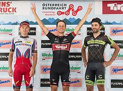 11.07.2015, Innsbruck, AUT, Österreich Radrundfahrt, 7. Etappe, von Kitzbühel nach Innsbruck, im Bild v.l. Eduard Vorganov (RUS, 2. Platz Etappe), Lukas Pöstlberger (AUT, 1. Platz Etappe), Moreno Moser (ITA, 3. Platz Etappe) // f.l.t.r. 2nd placed stage Eduard Vorganov of Russia 1st placed stage Lukas Pöstlberger of Austria 3rd placed stage Moreno Moser of Italia during the Tour of Austria, 7th Stage, from Kitzbühl to Innsbruck, Innsbruck, Austria on 2015/07/11. EXPA Pictures © 2015, PhotoCredit: EXPA/ Reinhard Eisenbauer