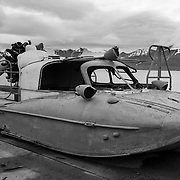 Tupolev A-3 Aerosledge, a Russian made air propeller driven vehicle for traveling on both snow and water. Barentsburg, Spitsbergen.