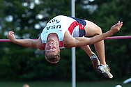Paul Terek of the United States finished second in the high jump with a jump of 2.00 meters, at the Nike Combined Events Challenge at the R.V. Christian Track Complex on the campus of Kansas State University in Manhattan, Kansas, August 5, 2006.