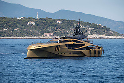 Russian movie producer Arcadiy Golubovich's super yacht Khalilah arrive in the Roquebrune bay. Built in 2014 by Palmer Johnson Yachts and designed by Bugatti, it is the world's biggest yacht built in carbon fiber, its dimensions are 49mt in length and 11mt in beam. It's equipped for 9 crew members and 12 guests. Monaco, July 2, 2017. Photo by Marco Piovanotto/ABACAPRESS.COM