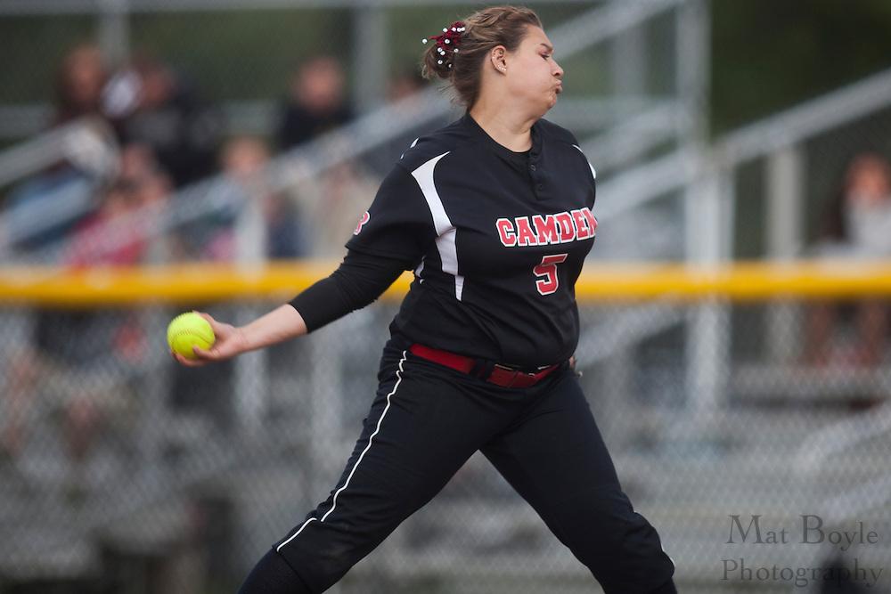Rutger's Camden Softball  P/1B Amanda Cassella (5); Rutgers-Camden softball at Rowan University on Tuesday April 10, 2012 in Glassboro, NJ. (photo / Mat Boyle)