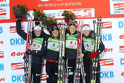 11.12.2011, Biathlonzentrum, Hochfilzen, AUT, E.ON IBU Weltcup, 2. Biathlon, Hochfilzen, Staffel Damen, im Bild Gewinner Horn Fanny Welle-Strand (Team NOR) Ringen Elise (Team NOR) Solemdal Synnoeve (Team NOR) und Berger Tora (Team NOR) // during Team Relay E.ON IBU World Cup 2th Biathlon, Hochfilzen, Austria on 2011/12/11. EXPA Pictures © 2011. EXPA Pictures © 2011, PhotoCredit: EXPA/ nph/ Straubmeier..***** ATTENTION - OUT OF GER, CRO *****