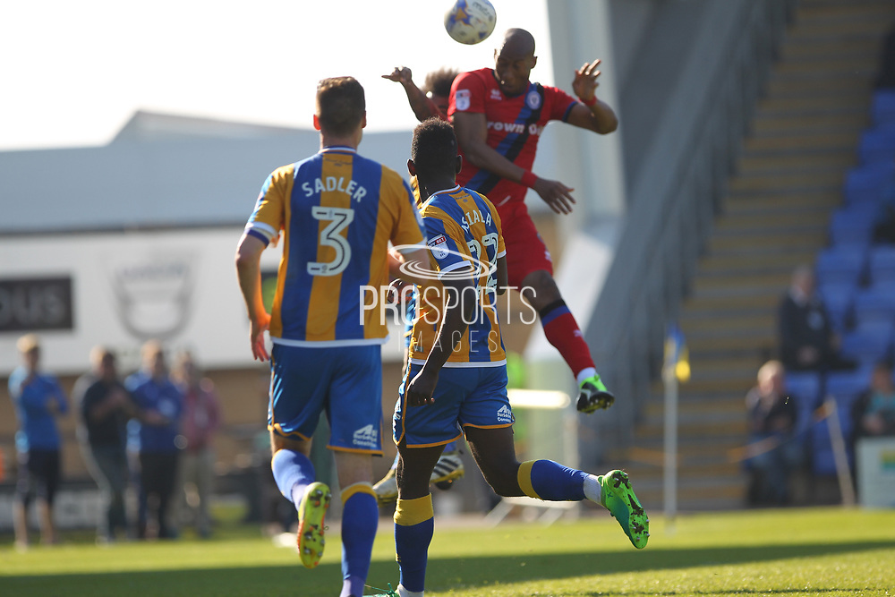 Disallowed Goal Calvin Andrew header goes in but disallowed offside during the EFL Sky Bet League 1 match between Shrewsbury Town and Rochdale at Greenhous Meadow, Shrewsbury, England on 8 April 2017. Photo by Daniel Youngs.
