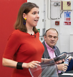 © Licensed to London News Pictures. 14/06/2019. Manchester, UK. JO SWINSON and ED DAVEY . The Liberal Democrat Party hold a leadership hustings at the St Thomas Centre in Ardwick , Manchester , between candidates Jo Swinson and Ed Davey . Photo credit: Joel Goodman/LNP