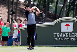 June 22, 2018 - Cromwell, CT, U.S. - CROMWELL, CT - JUNE 22: Bryson DeChambeau of the United States hits from the 18th tee during the Second Round of the Travelers Championship on June 22, 2018, at TPC River Highlands in Cromwell, Connecticut. (Photo by Fred Kfoury III/Icon Sportswire) (Credit Image: © Fred Kfoury Iii/Icon SMI via ZUMA Press)