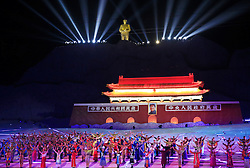 A view of the grand finale of 'Mao Zedong Comes from China', a show based on the former Communist leader's life in an outdoor theatre in Shaoshan, Hunan Province in central China, 27 April 2016. The show depicts Mao's life experience during the upheavals of the revolution and civil war leading to the founding of the People's Republic of China.