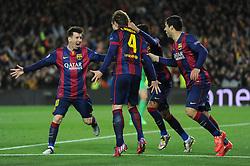 Barcelona's Ivan Rakitic celebrates with his team mates after scoring. - Photo mandatory by-line: Dougie Allward/JMP - Mobile: 07966 386802 - 18/03/2015 - SPORT - Football - Barcelona - Nou Camp - Barcelona v Manchester City - UEFA Champions League - Round 16 - Second Leg