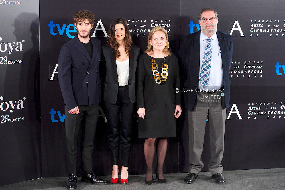Spanish actress Clara Lago and Spanish Actor Quim Gutierrez attend Goya cinema awards press conference at Academia de Cine on January 7, 2014 in Madrid, Spain.