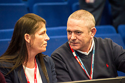 Pictured: Bradley Williams aunt Louise Lothain spoke with Community Inspector Stevie Sutherland after she spoke to the students<br /> <br /> Police Scotland visited Craigroyston High Schoolto today to host motorcycle safety seminar at the secondary school. The event looked at motorbike/vehicle misuse and the consequences involved after 50 students from the school were identified as potentially being involved in such activities. One of the school's 14 year old pupils, Bradley Williams died recently in a motorcycle accident recently and some of his relatives were their to plead with the students to be aware of the dangers of going on bikes with out the appropriate training and licences.<br /> Ger Harley | EEm 27 April 2017