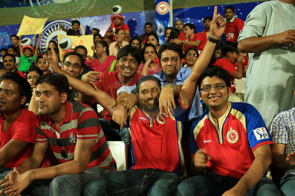 Fan's Enjoys during match 11 of the Pepsi Indian Premier League 2014 between the The Royal Challengers Bangalore and the Kolkata Knight Riders  held at the Sharjah Cricket Stadium, Sharjah, United Arab Emirates on the 24th April 2014<br /> <br /> Photo by Sandeep Shetty / IPL / SPORTZPICS