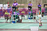 SO Hungary athlete Virginia Purcel in action at badminton competition during seventh day of the Special Olympics World Games Los Angeles 2015 on July 31, 2015 at South Hall of Convention Centre  in Los Angeles, USA.<br /> <br /> USA, Los Angeles, July 31, 2015<br /> <br /> Picture also available in RAW (NEF) or TIFF format on special request.<br /> <br /> For editorial use only. Any commercial or promotional use requires permission.<br /> <br /> Adam Nurkiewicz declares that he has no rights to the image of people at the photographs of his authorship.<br /> <br /> Mandatory credit:<br /> Photo by &copy; Adam Nurkiewicz / Mediasport