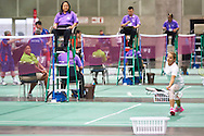 SO Hungary athlete Virginia Purcel in action at badminton competition during seventh day of the Special Olympics World Games Los Angeles 2015 on July 31, 2015 at South Hall of Convention Centre  in Los Angeles, USA.<br /> <br /> USA, Los Angeles, July 31, 2015<br /> <br /> Picture also available in RAW (NEF) or TIFF format on special request.<br /> <br /> For editorial use only. Any commercial or promotional use requires permission.<br /> <br /> Adam Nurkiewicz declares that he has no rights to the image of people at the photographs of his authorship.<br /> <br /> Mandatory credit:<br /> Photo by © Adam Nurkiewicz / Mediasport