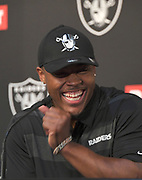 April 26, 2019: Alameda, CA, United States:  Josh Jacobs Oakland Raiders 24th overall selection of the 2019 NFL draft at press conference at Raiders Headquarters.  (Gerome Wright/Image of Sport)