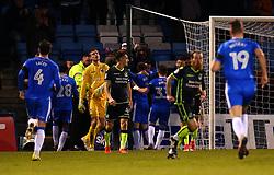 Bristol Rovers cut dejected figures as Gillingham celebrates scoring a goal to make it 3-0 - Mandatory by-line: Robbie Stephenson/JMP - 16/12/2017 - FOOTBALL - MEMS Priestfield Stadium - Gillingham, England - Gillingham v Bristol Rovers - Sky Bet League One