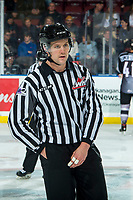 KELOWNA, BC - JANUARY 4:  Line official Dustin Minty skates on the ice at the Kelowna Rockets against the Vancouver Giants at Prospera Place on January 4, 2020 in Kelowna, Canada. (Photo by Marissa Baecker/Shoot the Breeze)